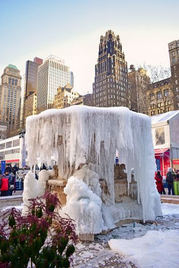 Frozen NYC NYC Photography Frozen Fountain Frozen Fountain Ice Fountain Bryant Park NYC Bryant Park  Architecture Building Exterior Built Structure Outdoors Travel Destinations Day Nature Winter Beauty In Nature Sculpture Cold Temperature Water