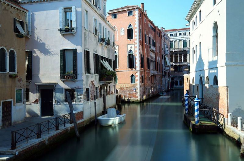 Waterway in venice italy with the technique of long exposure