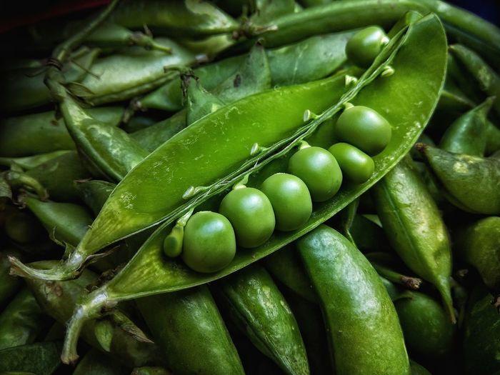 Full frame shot of green pea pods