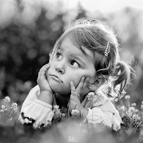 Childhood Cute Innocence Elementary Age Girls Focus On Foreground Person Holding Day Flower Toddler  Fragility Big Eyes Blackandwhite Photography Relaxation Black&white Grass Outdoors Black & White