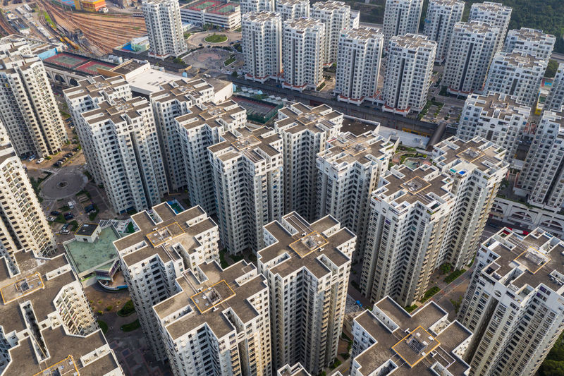 High angle view of modern buildings in city