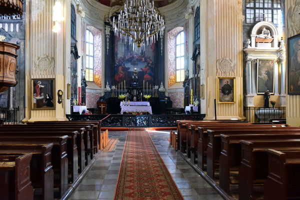 Belarus Corpus Christi Church Altar Architecture Courtroom Day Indoors  Nesvizh Castle No People Pew Place Of Worship Religion Seat Spirituality