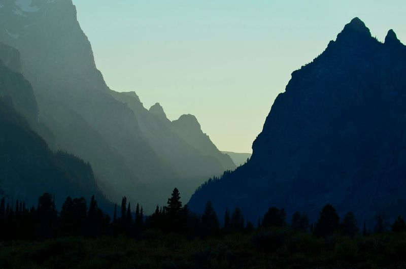 Mountain Silhouette Landscape Nature Outdoors Grandtetonnationalpark Wyoming Mountains Sunset
