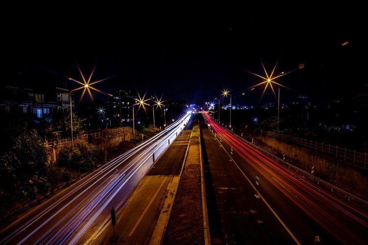 City Illuminated Road Cityscape Long Exposure Speed Light Trail Motion Street Light City Life