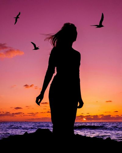 Beach walk Silhouette Bird Sunset Sky One Person Beach People Beauty In Nature Outdoors Silhouette_collection Silhoutte Photography Silhouettes Nature Silhouette Beauty In Nature Women Sillouette Silhouette Sea Woman Ocean Ocean View Fantasy sunset #sun #clouds #skylovers #sky #nature #beautifulinnature #naturalbeauty photography landscape Sunset Lovers
