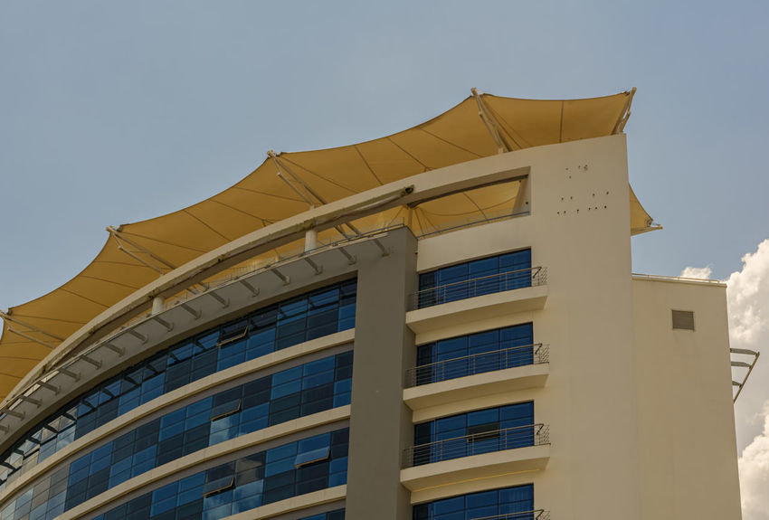 KIGALI,RWANDA - OCTOBER 17,2017: Kiyovu This is the upper part of the Ubumwe Grande Hotel in KN 67 Street. This hotel is big,expensive and in the business center of the city. Architecture Business Kigali Rwanda Africa Building Hotel Tourism Windows