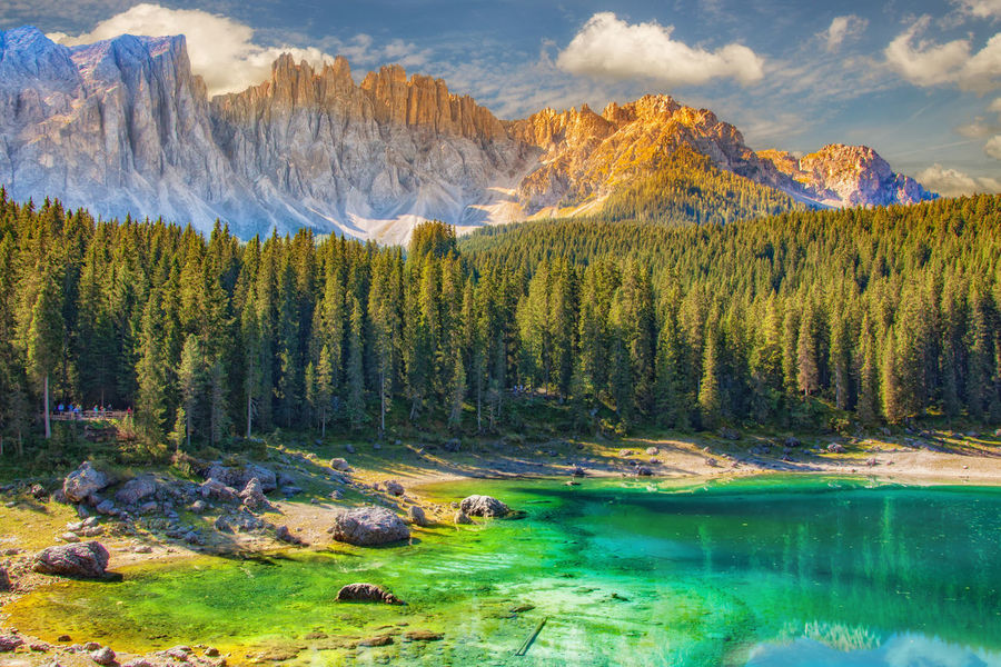 Beauty In Nature Colorfull Day Dolomites, Italy Forest Karersee Lake Landscape Mountain Mountain Peak Nature No People Opal Outdoors Sky Sunlight ☀