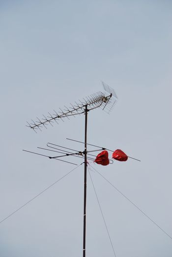 Red Heart Shaped Balloons Attached To Antenna