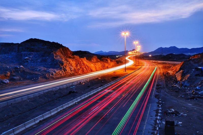 Transportation Illuminated Motion Light Trail Road Speed Sky Long Exposure Cloud - Sky Street Tail Light Street Light Lighting Equipment Mode Of Transportation Night Highway