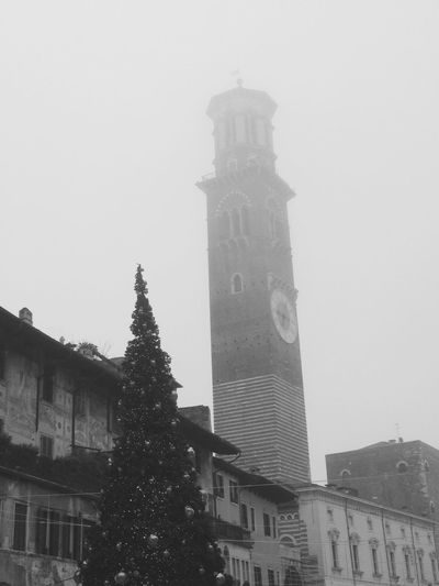 Xmas in b/w #Verona #Italy #tower Christmastime