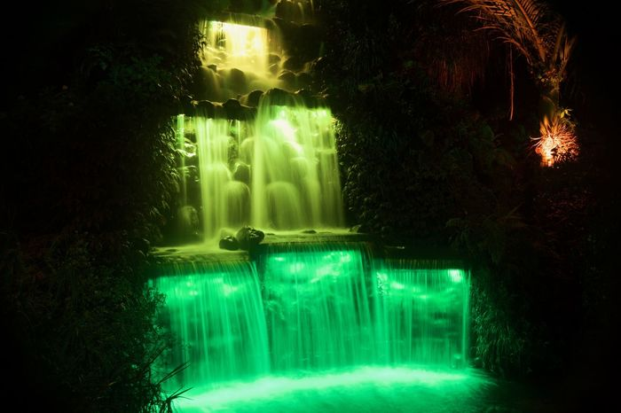 Waterfall at night Green Color Window Illuminated Night Sky Water Waterfall New Plymouth Pukekura Park New Zealand Multi Colored