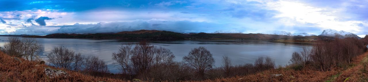 Scotland, Loch Ewe West Side Vista Snow Capped Mountains Composite Panoramic Photography Day Natures Colours No People Sea And Sky Sea Loch Views Sun In Sky Late In Day Waterfront