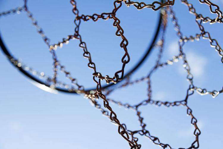 A basket net seen from below with blue sky