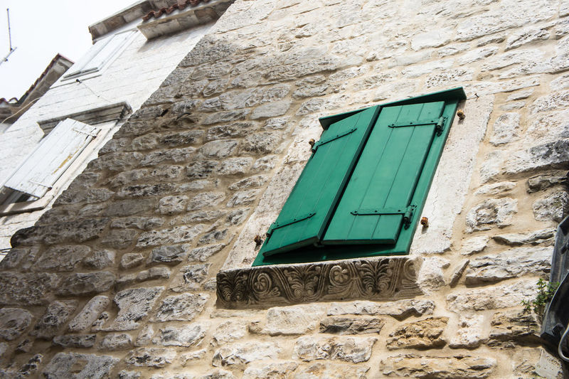 Nofilter No Filter Architecture Building Building Exterior Built Structure Day Green Color House Low Angle View Old Outdoors Trogir Wall Wall - Building Feature Window