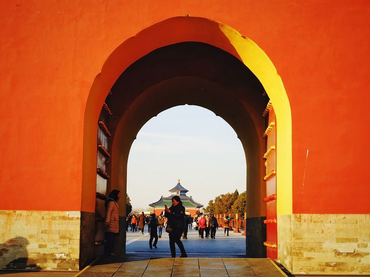 Arch Orange Color Red Architecture Outdoors Cloud - Sky Travel Old Building  China View Warm Winter Temple Of Heaven Park FUJIFILM X-T10 Old Architecture Beijing, China Traditional Building China Culture Traditional Architecture King - Royal Person Old Building  Built Structure Royalty History Architecture Multi Colored Freshness