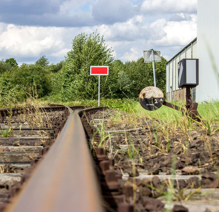 Bahn Eisenbahn Schienen Sign Switch Weiche Bahnschienen Cloud - Sky Germany Landscape No People Outdoors Rail Transportation Railroad Signs Railroad Track The Way Forward Transportation