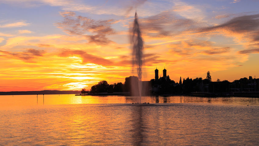 Architecture Bodensee Bodensee Friedrichshafen City Cloud - Sky Constance Evening Fountain Kloster Lake Constance, Germany Landscape No People Outdoors Reflection Scenics Shillouette Sky Skyline Sunset Travel Travel Destinations Water