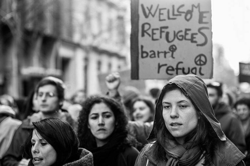 Last shots from the European March for the Refugees Rights held on February 27 in Barcelona Blackandwhite Documentary Photography European March For The Refugees Rights Monochrome Monochrome_life People Street Streetphoto_bw Streetphotography Showcase April