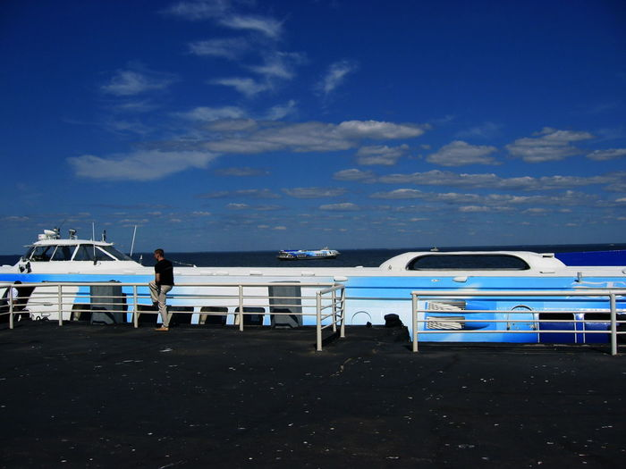 2005 Russia St Petersburg Blue Cloud - Sky Day Hydrofoils Mode Of Transport Nautical Vessel One Person Outdoors Sea Sky Standing Transportation Water