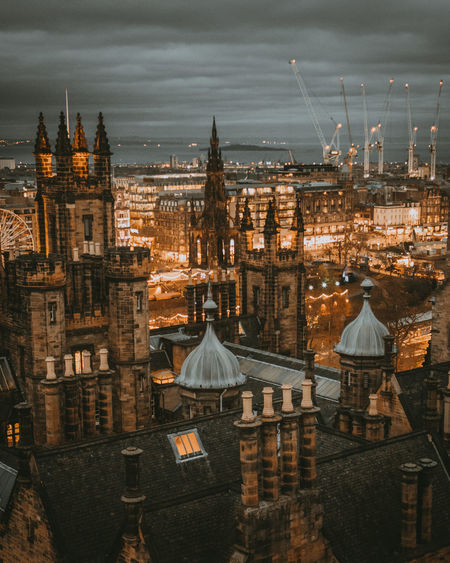 Vscocam Edinburgh Mood Landscape Colours Night Scotland View Town Lights Amazing Above Lightroom City Cityscape Winter Aerial View Sky Architecture Tower Urban Skyline Tall - High