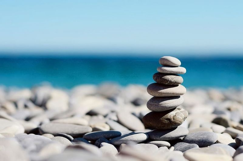 Balance Beach Blue Horizon Horizon Over Water Land Nature No People Outdoors Pebble Rock Rock - Object Sea Sky Solid Stack Stone Stone - Object Tranquility Water Zen-like