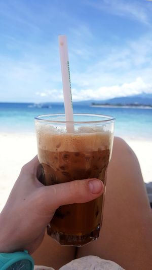 Ocean Coffee Coffee Human Hand Water Drink Beach Cola Drinking Glass Cocktail Fingernail Alcohol Drinking Straw