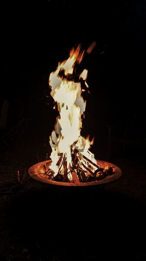 Black Background Flame Heat - Temperature Burning Fire Pit Bonfire Motion Close-up Campfire Firewood