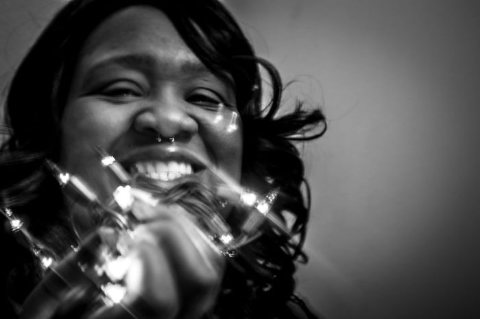 Real People One Person Close-up Leisure Activity Lifestyles Headshot Indoors  Bubbly Christmas Lights Black And White Portrait Portrait Portrait Of A Woman Welcome To Black The Portraitist - 2017 EyeEm Awards