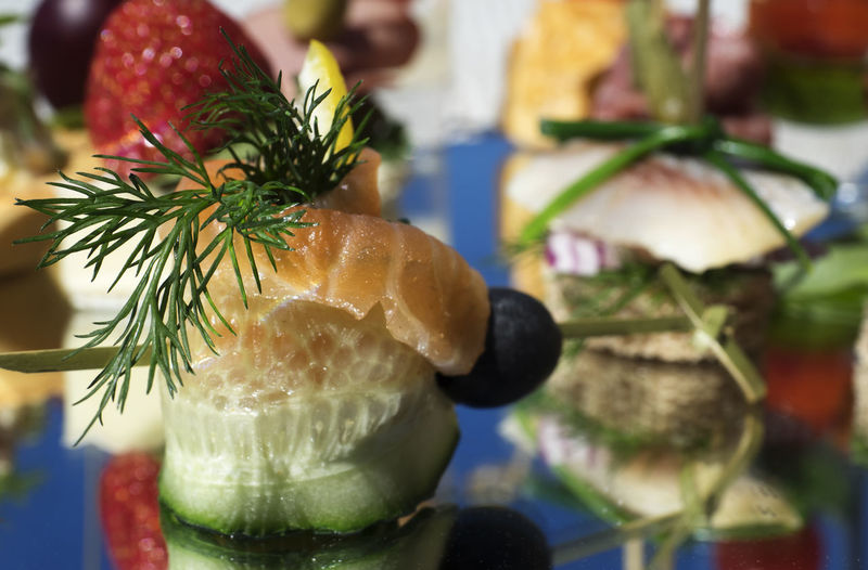 Close-up of canapes served on platter