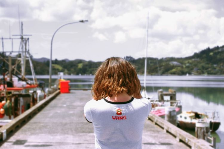 One Young Woman Only Nature Only Women Water Standing Sky Rear View One Person Casual Clothing Adult Day Outdoors One Woman Only Blue Vacations Newzealandauckland New Zealand Newzealand Beauty In Nature Newzealandphotography Landscape Lake Women