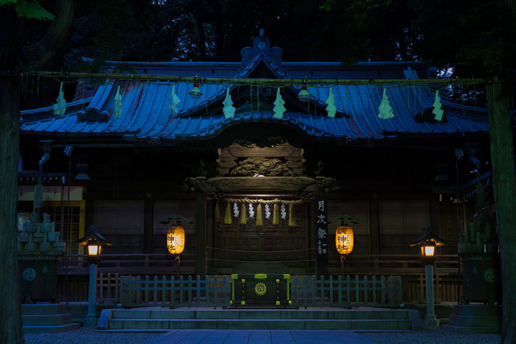 Japanese  Japanese Style Shinto Shrine Shinto Temple Architecture Building Building Exterior Built Structure Illuminated Lighting Equipment Night No People Shinto Of Japan Tree