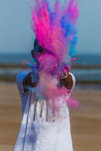 Holi color powder splash photo