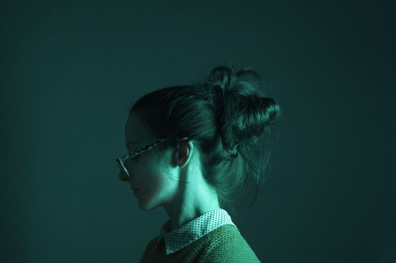 Should it involve moody brooding? Selfportrait Young Adult Young Women Glasses Dark Studio Shot