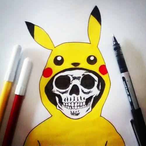 Dibujo Drawing Illustration Pikachu Pokémon Skull Art Draw Yellow Talentthursdaytth