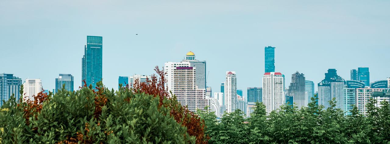 Plants growing against modern buildings in city against clear sky