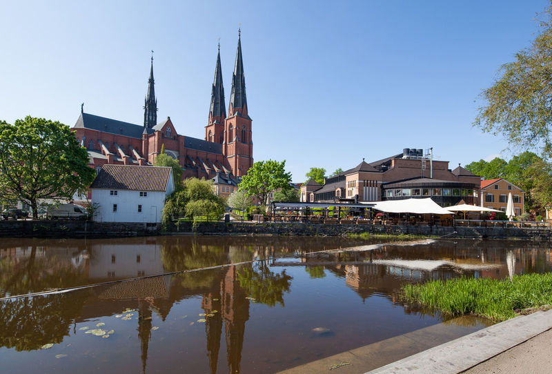 Uppsala Church with its reflection on the river. Architecture Architecture Cathedral Church City Europe Reflection Reflection River Scandinavia Standing Water Sweden Uppsala Uppsala, Sweden