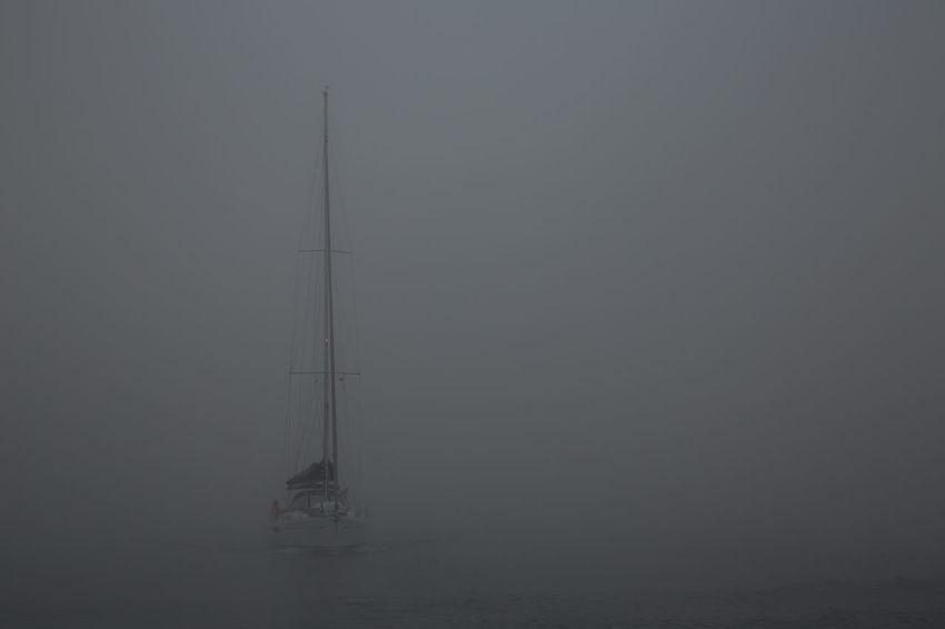 Low Visibility Fog No People Outdoors Poor Visibility Sailing Boat Sailing Vessel