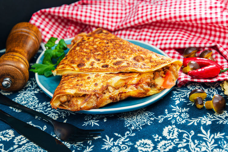 Mexican fajita wraps with grilled chicken fillet and fresh vegetables Salt Salted Crepe Meal Plate Fat Snack Breakfast Gourmet Dinner Lunch Cream Cake Salty Dining Baked Food Sauce Cuisine French Galette Pancake Parsley Recipe Cheese Delicate Ham Meat Tasty Food And Drink No People