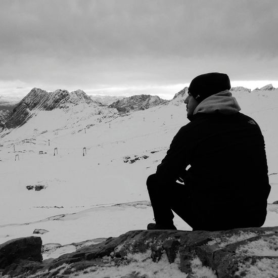 Breath Taking Snow Sitting Adult People Silhouette Cold Temperature Mountain
