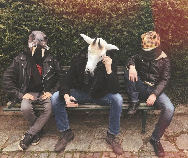Friends Wearing Animal Masks While Sitting On Bench At Park