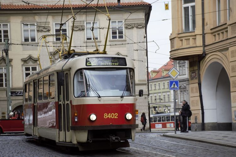 Railroad Car On Tramway In City