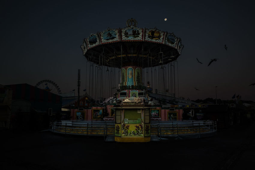 Forgotten Projects Night Lights Nightphotography Oktoberfest Wiesn Amusement Park Amusement Park Ride Arts Culture And Entertainment Carousel Clear Sky Ferris Wheel Merry-go-round Night No People Outdoors Ride Sky