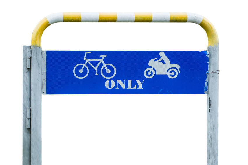 Attention Care Caution Isolated Road Sign Traffic Transport Transportation Bicycle Blue Drive Information Label Lane Motorbike Notice Permit Ride Safety Street Symbol Vehicle Warning White Background
