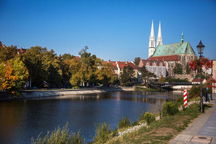 Church City Frontier Blue Sky Day Nysa River Zgorzelecgoerlitz