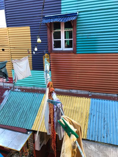 La Boca EyeEm Selects Building Exterior Architecture Built Structure No People Building Day Corrugated Iron House Window Multi Colored Textile Cleaning Wood - Material Outdoors