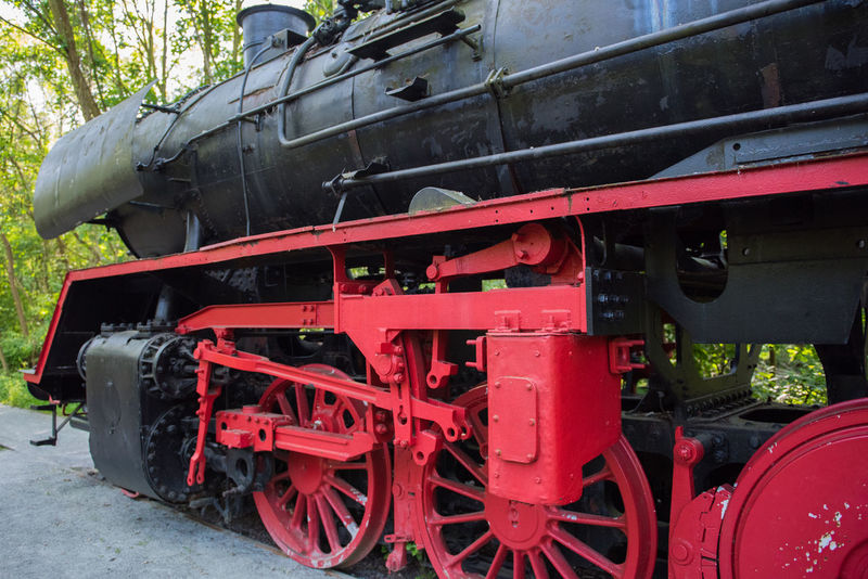 Old Steam Locomotive Black Close-up Day Engine Forest Large Large Machinery Loco Locomotive Machine Machinery Close Up Metal Mode Of Transport No People Old Train Outdoors Red Red Steam Locomotive Steam Train Steel Train Train - Vehicle Transportation Transportation