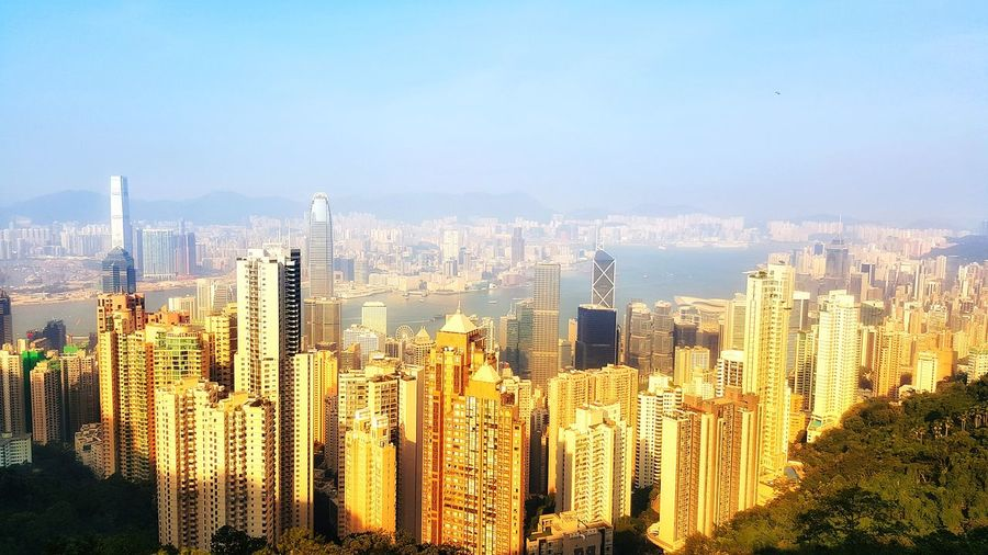 View on top at Hongkong View On Top Buliding Design Beautiful Place Sunnyday☀️ Landscape Building And Sky Light And Shadow Landscape_Collection Cityscape City Skyscraper Sky Architecture Tall - High Tower Office Building