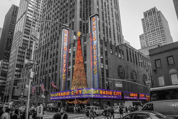Skyscraper New York City Radio City Music Hall Christmas Tree Black & White