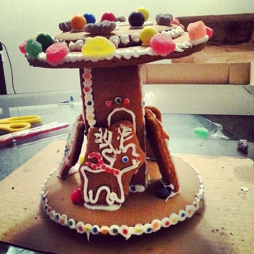 This is what we did last night while watching the Polar Express. Christmas Gingerbread Gingerbreadhouse Gingerbreadcarousel reindeer xmas polarexpress