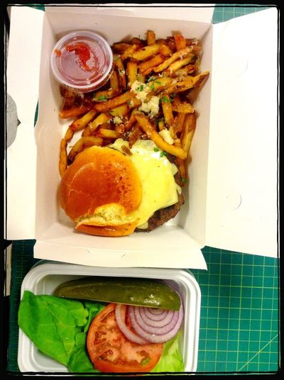 Cafeteria Lunch Cheese Burger Aged Cheese & Fries